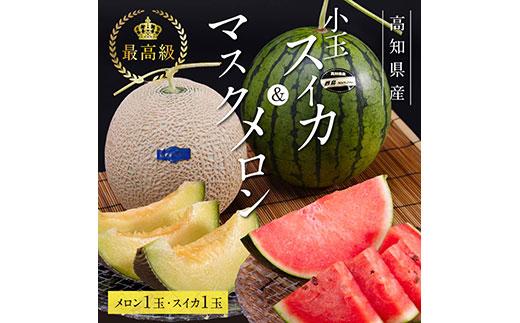 コロナ 緊急支援 高知県産 最高級マスクメロン&小玉スイカセット〈南国市共通返礼品〉 ハウス栽培のため、年中お楽しみいただけます