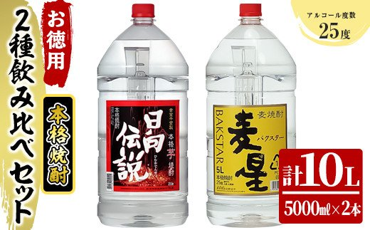 KU181《毎月数量限定》寿海酒造 お徳用本格焼酎2種飲み比べセット 計10L ( 本格焼酎 日向伝説 5000mlペット×1本、本格焼酎 麦星 5000mlペット×1本)