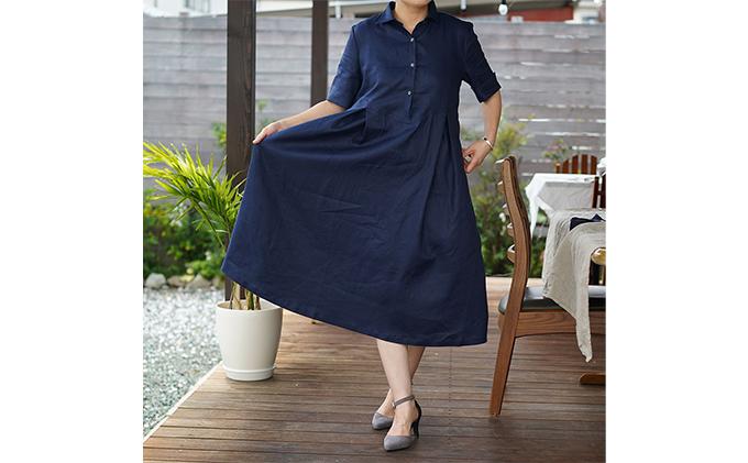 リネン100% シャツワンピース 上質な麻を丁寧に縫いました。